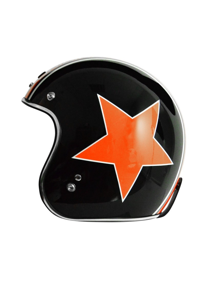 Casco Origine Primo Astro Negro Brillo - Naranja