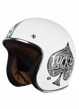Casco Origine Primo Red Spade White As de picas aspecto vintage retro