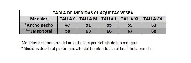 CUADRO TALLAS CHAQUETAS-IMPORTANTE