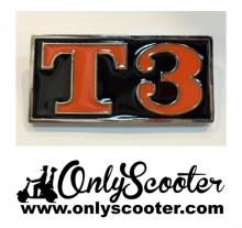 Logo anagrama trasero Vespa T3 ( ORIGINAL FONDO NEGRO )